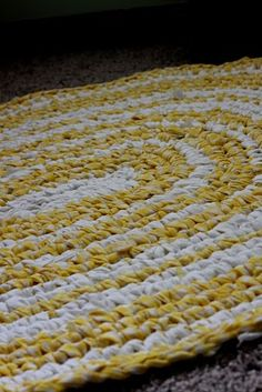 rag rug from thrifted sheets. Sweet colors for baby boy room!