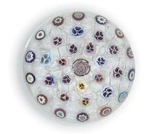Parabelle Glass Magnum Clichy-type rose encircled by pansies and cogs on scrambled lattichino-ground. 1996 Limited Edition Collection