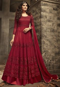 Buy Red Embroidered Abaya Style Anarkali Suit online, SKU Code: This Red color Party anarkali suit for Women comes with Sequins Net. Shop Now! Pakistani Dresses, Indian Dresses, Indian Outfits, Bollywood Dress, Indian Designer Outfits, Designer Gowns, Designer Anarkali Dresses, Bridal Gown Styles, Bridal Gowns