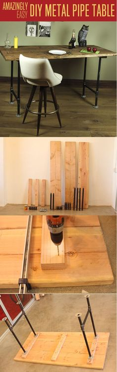 Easy DIY Table Woodworking Project for Beginners | Amazingly Easy DIY Metal Pipe Table by DIY Ready at http://diyready.com/easy-woodworking-projects/