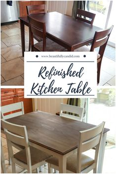 How We Refinished Our Kitchen Table Table Makeover Kitchen Refinished Table Refurbished Kitchen Tables, Refinishing Kitchen Tables, Painted Kitchen Tables, Dining Table Makeover, Kitchen Table Makeover, Farmhouse Kitchen Tables, Refurbished Furniture, Repurposed Furniture, Diy Kitchen