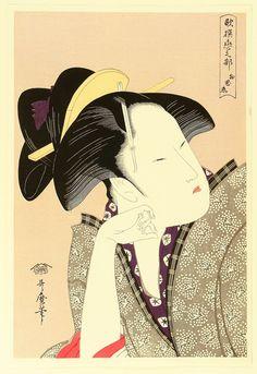Title:歌撰恋之部 物思恋 Reflective Love (Mono omou koi), from the series Anthology of Poems: The Love Section (Kasen koi no bu) Artist:喜多川歌麿 Kitagawa Utamaro