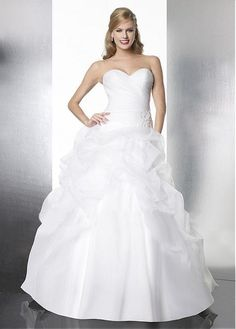 PRETTY ORGANZA BALL GOWN STRAPLESS SWEETHEART RUCHED BODICE PICK-UP WEDDING DRESS LACE FORMAL PROM PARTY CUSTOM SIZE