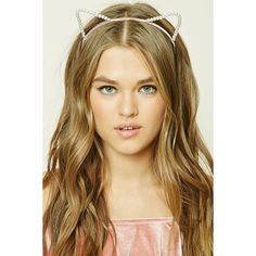 Forever21 Faux Pearl Cat Ear Headband ($3.90) ❤ liked on Polyvore featuring accessories, hair accessories, head wrap hair accessories, hair band headband, head wrap headband, hair band accessories and cat ears headband