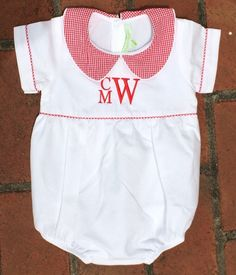 Monogrammed Boys Baby Bubble, Personalized Red Gingham Christmas Outfit with Monogram, July 4th Outfit, Infant Shortall by TheOrangeIris on Etsy https://www.etsy.com/listing/226991362/monogrammed-boys-baby-bubble