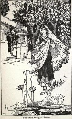 Tumblr 1916 Warwick Goble  She came to a great house.