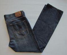 American Eagle AEO Relaxed Jeans 36 34 Dark Indigo Straight Leg Cotton Denim  #AmericanEagleOutfitters #Relaxed