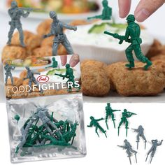 food fighters - appetizer food picks - little green army men. Army Birthday Parties, Army's Birthday, Birthday Ideas, Happy Birthday, Military Party, Army Party, Men Party, Promotion Party, Army Men