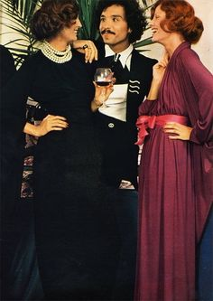 Cocktail party fashions for French Elle, 1971.