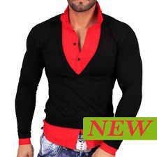 Chemise Shirt Homme Noir Rouge Taille S M L XL T724 Tee Manche Longue