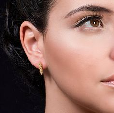 Small & Elegant Gold Stud Earrings, 18K Solid Gold Wedding Earrings, Bohemian / Ethnic Style Wedding Fine Jewelry, Art Statement Bohemian Earrings  One of the biggest trends in the fashion world today fits perfectly in with any of your outfits- adding glimmer and style- statement earrings!  These gold elegant earrings are extremely beautiful and unique. Since these exotic bohemian gold studs add a chic and exquisite presence to every look, they never go out of style, rendering them c...