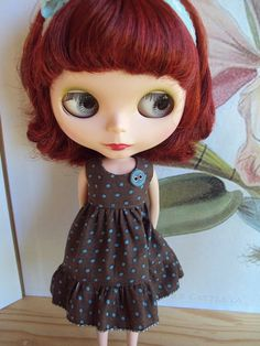 Market Day dress set for Blythe - Chocolate brown and duck egg polka