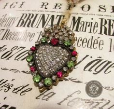 Milagro necklace sacred heart religious ex voto rhinestone metallic trim red and green stones one of a kind jewelry assemblage by madonnaenchanted on Etsy