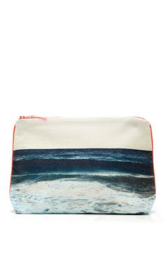 Shop Tulum Navy Wave Small Canvas Pouch by Dezso by Sara Beltran Now Available on Moda Operandi