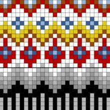 Åkle i krokbragd og kjerringtann fra Ål - Åklær fra Buskerud - Fagsider - Norges… Inkle Weaving, Inkle Loom, Hand Weaving, Knitting Charts, Knitting Stitches, Knitting Patterns, Painted Floor Cloths, Fair Isle Chart, Chart Design