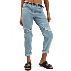 TOPSHOP 'Hayden' Bleach Ripped Boyfriend Jeans ($37) ❤ liked on Polyvore featuring jeans, mid denim, boyfriend jeans, destructed jeans, blue ripped jeans, relaxed fit jeans and bleached jeans