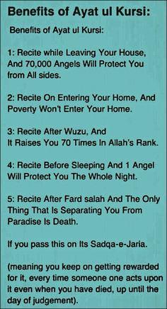 Benefits of ayath Al qursi