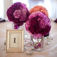 Purple and Orange Centerpieces