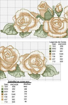Roses cross stitch pattern and color chart. Cute Cross Stitch, Cross Stitch Rose, Cross Stitch Flowers, Cross Stitch Charts, Cross Stitch Designs, Cross Stitch Patterns, Cross Stitching, Cross Stitch Embroidery, Beading Patterns