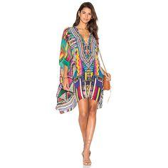 Camilla Short Lace Up Kaftan featuring polyvore, women's fashion, clothing, tops, tunics, dresses, short kaftan, caftan top, laced tops, camilla kaftan and kaftan tops