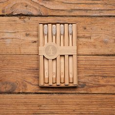 Numbered Wooden Toothbrushes
