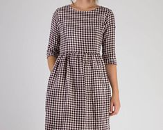 Model No. 19 - Plum check linen dress