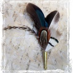 Plumage Feather Boutonniere - Weddings - Boutineer Boutoneer Boutonnier Button Hole Lapel Pin - Neutral Gray Black Brown - Groomsmen Groom on Etsy, $14.45 AUD