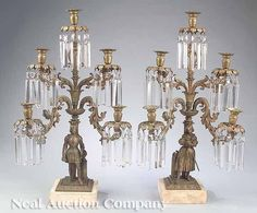 "c1850 girandole set, ""Jeanne d'Arc & Knight"", 28t, 07-4,8."