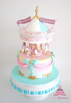 cakeMoment / cakeMomentHK / cakeMoment-wedding HK / Carousel cake design ideas for children or baby 100 days For order enquiry, please email to cakemoment.enquiry@gmail.com Pretty Cakes, Cute Cakes, Beautiful Cakes, Amazing Cakes, Carousel Cake, Carousel Birthday, Birthday Cake, Carnival Cakes, Funny Cake