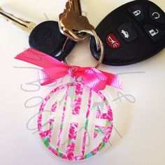 Lilly Pulitzer Monogram Keychain by GirlAndHerDogShop on Etsy https://www.etsy.com/listing/194325334/lilly-pulitzer-monogram-keychain