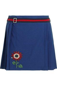 Gucci for NET-A-PORTER - Floral-appliquéd Wool-blend Mini Skirt - Royal blue - IT46