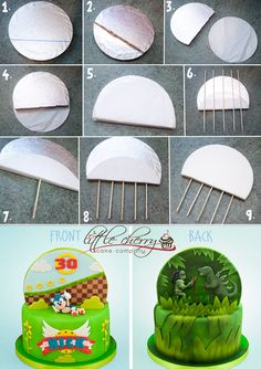 Little Cherry Cake Company Tutorial for double sided cake backdrop Cake Decorating Techniques, Cake Decorating Tutorials, Decorating Supplies, Decorating Ideas, Bolo Sonic, Sonic Cake, Cake Structure, Cherry Cake, Fondant Decorations