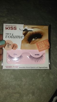 "OK im extremely excited to receive some new kiss true volume fake eye lashes because ive never tried them! so this will be my first time and im pretty sure i will be hooked, these are made wit 100% natural hair and has big time volume and plump <3 yaaaaaay <3   ""i received this product complimentary from influenster  for testing and reviewing purposes, however all opinions are my own"""