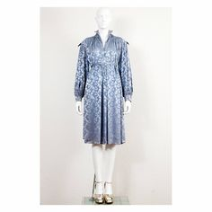 Rare 1970s damask bow print Ossie Clark marocain dress billowing bishop sleeves by VintageKabinet on Etsy
