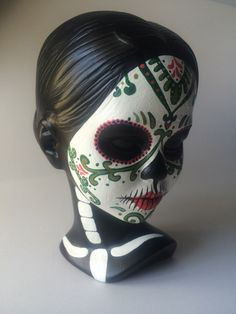 Day of the dead woman bust Sugar skull face painting sculpture skeleton female Dia de los meurtos woman hand painted art by SpiritofAine on Etsy https://www.etsy.com/listing/225980711/day-of-the-dead-woman-bust-sugar-skull