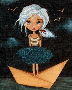 Girls Room Art, Children's Art, Girl Art Print, Art for Children, Poster, Art for Kids, Nautical, Cute - Sometimes A Sailor 8x10 Print. $10.00, via Etsy.