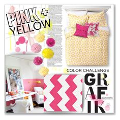 """Color Challenge: Pink and Yellow Polyvore Contest Entry"" by meowshoe ❤ liked on Polyvore featuring interior, interiors, interior design, home, home decor, interior decorating, Dash & Albert, Cultural Intrigue, Surya and DENY Designs"