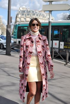 Pieced together perfectly. Helena Bordon. Pink cat coat, yellow mini skirt, cream turtleneck. Street style