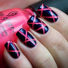 I love the pink peeking through!     paint your nails pink, let it dry.   put thin tape over nails in fun pattern  paint over tape with a contrasting color  peel tape off!!!