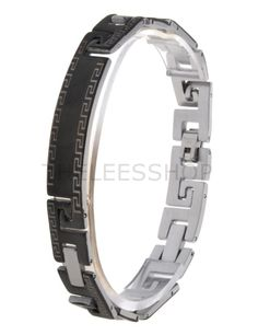 (HLBR021-BLACK) Black Silver Two-Tone Logo Patched Stainless Steel Bracelet