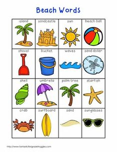 Writing Center Tools- Beach Words