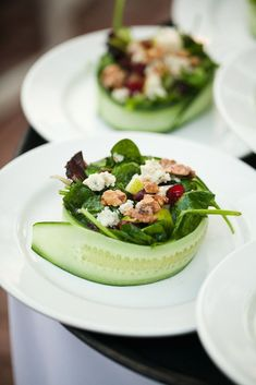 just had a salad like this at a wedding. it was delicious and looked beautiful. Photography by scottstater.com #Foodplating