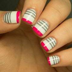 Reverse French Manicure.  I like this one with a little thicker pink line at tip and without the grey stripes at the base (or maybe throw in a glitter line between the pink and white).  Would be cute on the toes too!