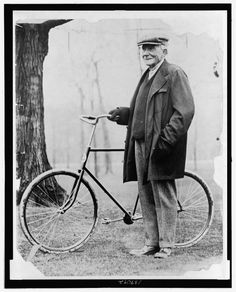 John Davison Rockefeller 1839 1937 standing with a bicycle American oil magnate Vintage Photographs, Vintage Photos, John Davison, John D Rockefeller, Old Bicycle, Boston Public Library, Cycling Art, Cycling Quotes, Cycling Jerseys