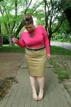"Pretty match;coral top  with light pea green  pencil skirt. ""Smart"" !"
