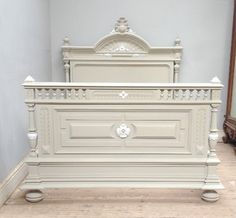 Super heavy very old French bed / painted with intricate highlights / Frenchfinds.co.uk / French painted furniture