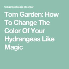 Tom Garden: How To Change The Color Of Your Hydrangeas Like Magic