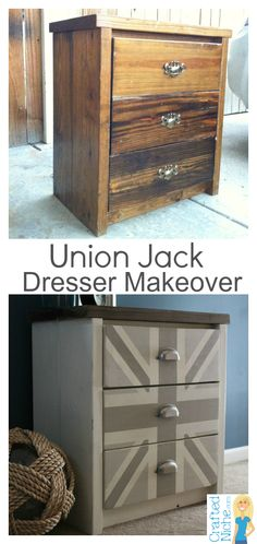 Fun Before and After of a twenty-buck Union Jack dresser.  Made with homemade chalk paint!