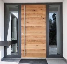 Modern Entrance Door, Main Entrance Door Design, Modern Exterior Doors, Modern Front Door, House Front Door, House Doors, House Entrance, Exterior Design, Contemporary Front Doors
