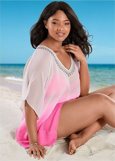 Bugle beads adorn the front neckline, accenting the low V neck on this Plus Size Dip Dye Beaded Cover-Up. Swimsuit Cover Ups, One Piece Swimsuit, Women's Plus Size Swimwear, Plus Size One Piece, Bugle Beads, Dip Dye, Swimsuits, Bikinis, Tankini